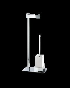 Toiletstandaard Decor Walther met porselein houder en rechthoekige chromen voet